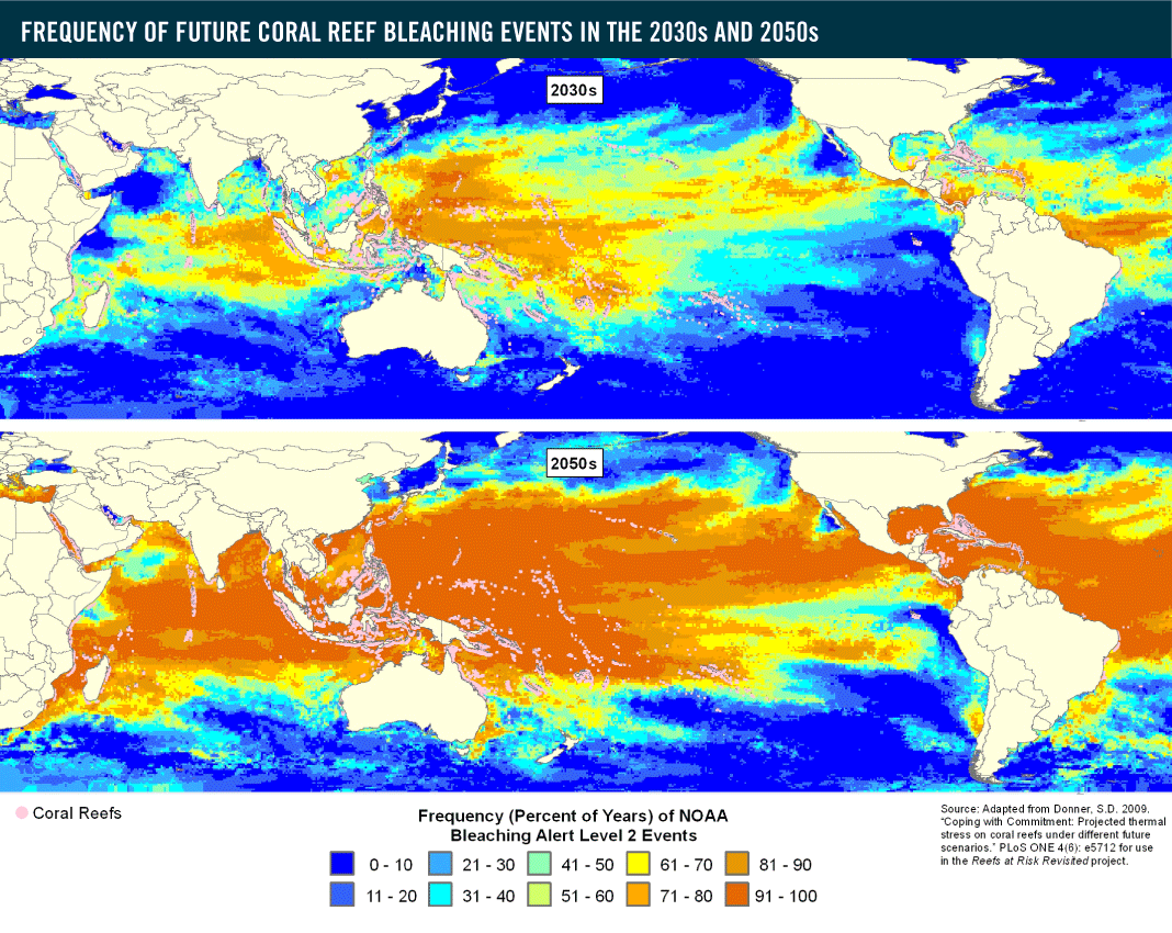 Climate and ocean change reef resilience global bleaching map gumiabroncs Gallery
