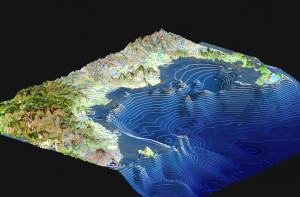 Kimbe Bay is characterized by dramatic bathymetry: coastal shelf to 200m, most deep areas 600 to >2000m. © The Nature Conservancy