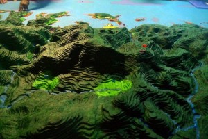 3D model showing aerial view from Snake Ridge to Boe Boe village on the coast in the Solomon Islands. Photo © TNC