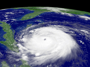 Hurricane Frances approaches Florida in September, 2004. Image courtesy NASA and NOAA.