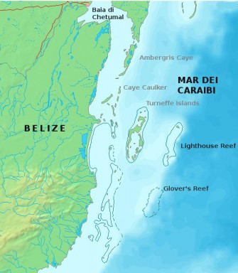 Location of the Belize Barrier Reef System