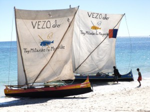 Campaign logo painted on local boats. © Blue Ventures
