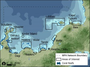 Spreading the risk: the design of a resilient MPA network in Kimbe Bay, Papua New Guinea shows where Areas of Interest were identified as potential MPAs. The design includes at least 3 widely separated examples of each habitat type in different Areas of Interest (Green et al. 2009).