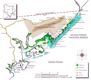 Kiunga Marine Project map. © World Wildlife Fund/Kenya Wildlife Service