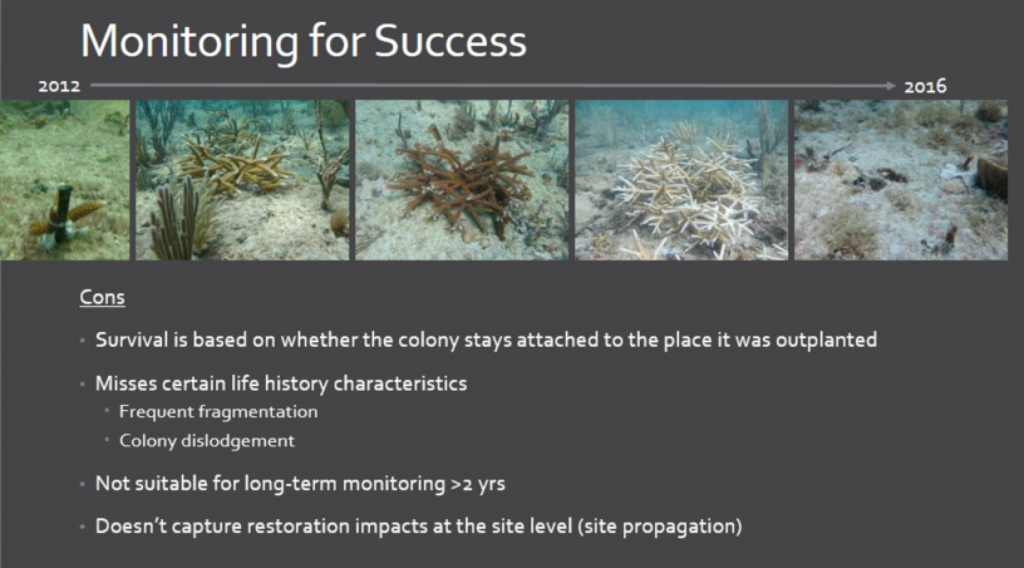 Limitations of colony-level monitoring for coral reef restoration sites. Credit: Elizabeth Goergen, Nova Southeastern University. Slide from 2017 Coral Reef Task Force Meeting.