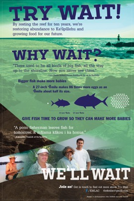 Poster created by the Kaʻūpūlehu Marine Life Advisory Committee to build support for a ten year marine reserve. Example of a personal positive message.