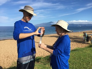 Citizen scientists collecting water samples in Maui, Hawai'i