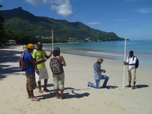 Climate Change Adaptation Tools Training participants learn how to profile a beach in the Seychelles.