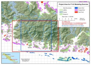 The Project Area Map for the model at 1:5000 scale covering 198 km2 in Choiseul Province, Solomon Islands. Photo © TNC.