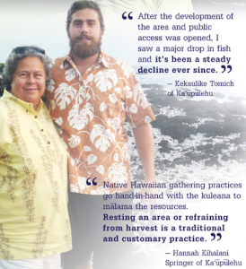 Example of sharing personal observations from the Kaupulehu Marine Life Advisory Council brochure.