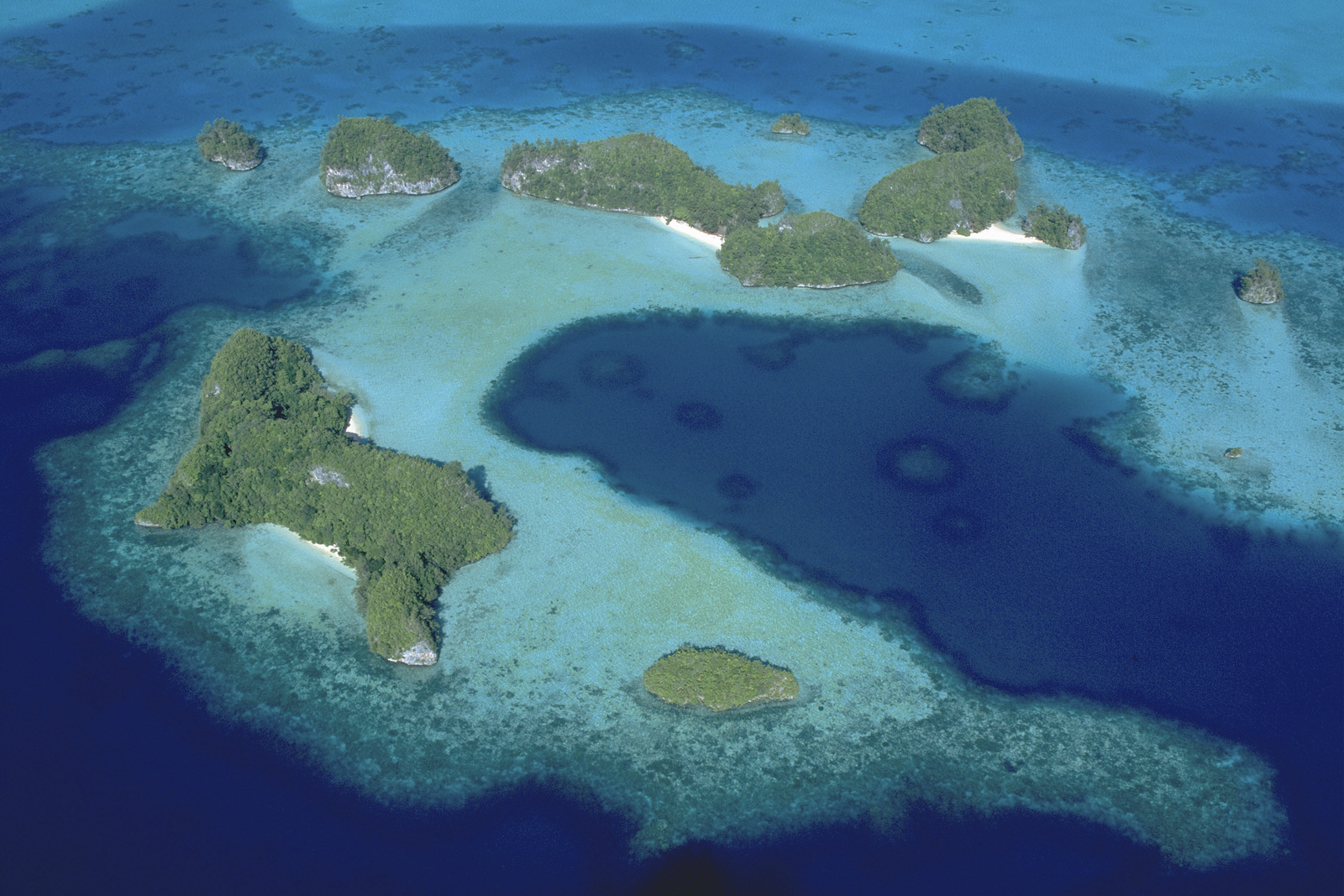 (INTERNAL RIGHTS ONLY) Aerial view of Kmekumer, Rock Islands, Republic of Palau, Palau, Asia Pacific. Photo credit: © Jez O'Hare